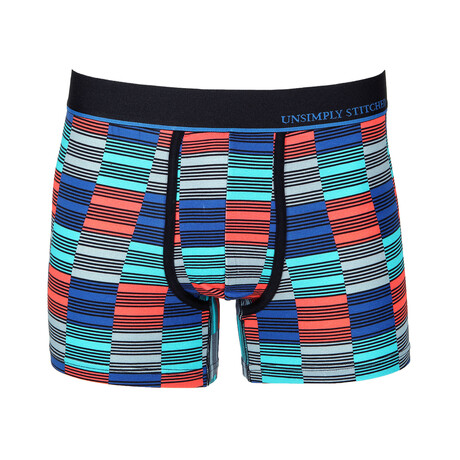 No Show Trunk Check // Coral + Blue (S)