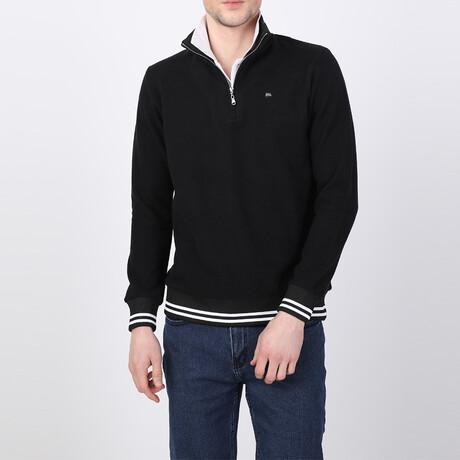 Hayden Striped Ends Half-Zip Sweater // Black (S)