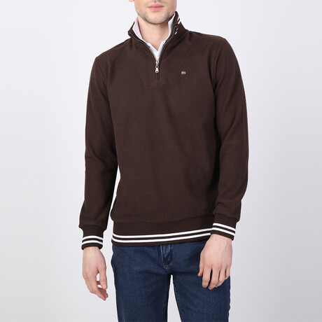 Weston Striped Ends Half-Zip Sweater // Brown (S)