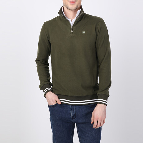 Lawson Striped Ends Half-Zip Sweater // Olive (S)