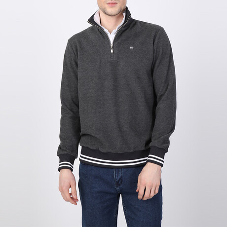 Frances Striped Ends Half-Zip Sweater // Antracite (S)