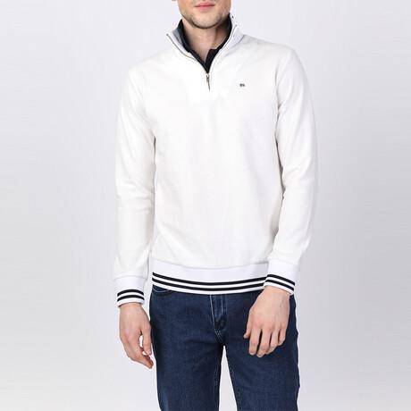 Dalton Striped Ends Half-Zip Sweater // Off-White (S)