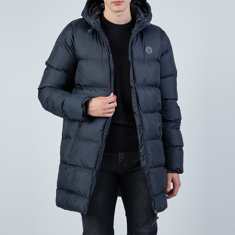 Remi Longline Hooded Puffer Jacket // Navy (S)