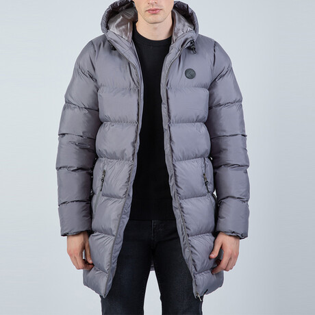 Milo Longline Hooded Puffer Jacket // Antracite (S)