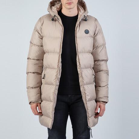 Darren Longline Hooded Puffer Jacket // Tan (S)