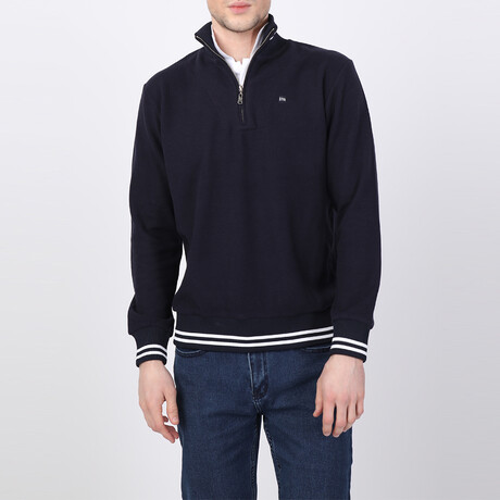 Maverick Striped Ends Half-Zip Sweater // Navy (S)