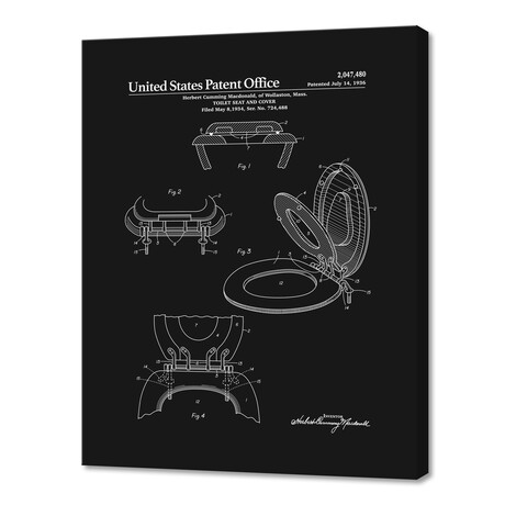 """Toilet Seat and Cover Patent (10""""H x 8""""W x 0.75""""D)"""