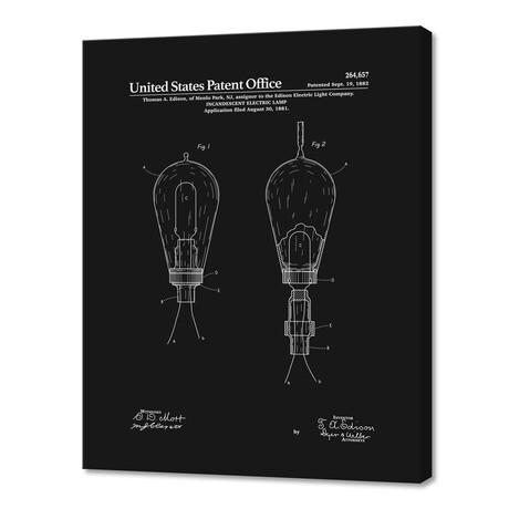 "Thomas Edison Light Bulb Patent (10""H x 8""W x 0.75""D)"