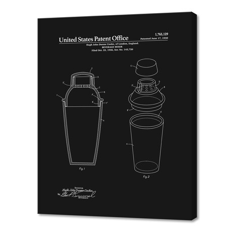 """Cocktail Shaker Patent (10""""H x 8""""W x 0.75""""D)"""