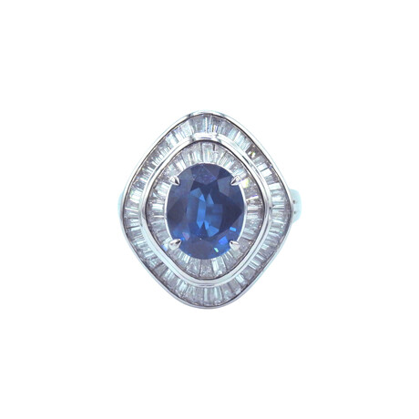 Platinum Diamond + Sapphire Ring // Ring Size: 6.75 // Pre-Owned
