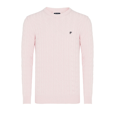 Valentino Round Neck Woven Pullover // Light Pink (S)