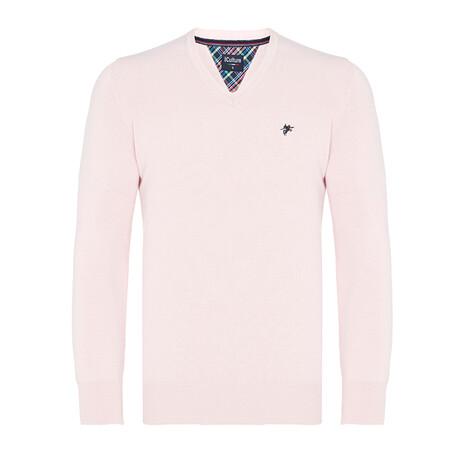 Quinn V-Neck Pullover Sweater // Light Pink (S)