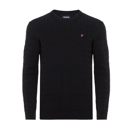 Taylor Round Neck Woven Pullover // Black (S)