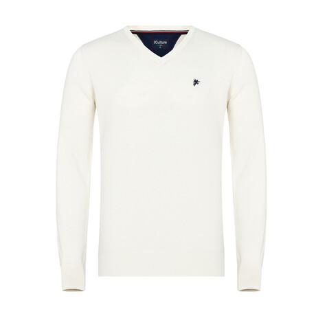 Frank V-Neck Pullover Sweater // Off-White (S)