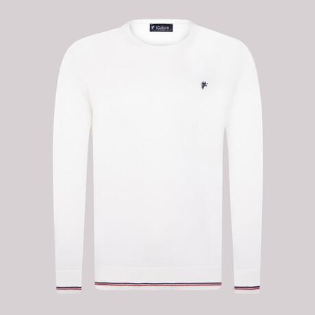 James Round Neck Pullover Sweater // White (S)