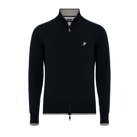 Nico Turtleneck Zip-Up Sweater // Navy (S)