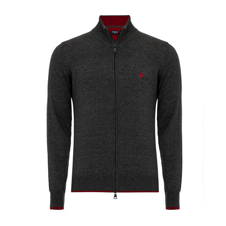Arden Turtleneck Zip-Up Sweater // Anthracite Melange (S)