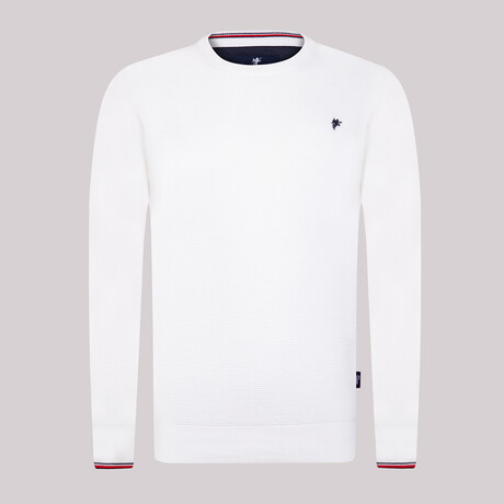 Charlie Round Neck Pullover Sweater // White (S)