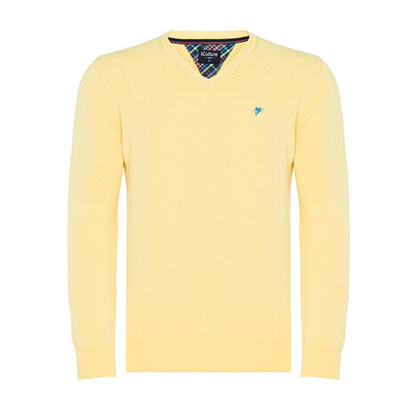 Pat V-Neck Pullover Sweater // Pale Yellow (S)