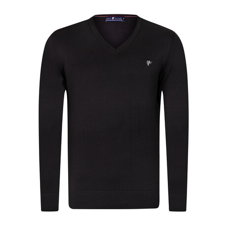 Harry V-Neck Pullover Sweater // Black (S)
