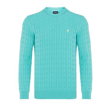 Wyatt Round Neck Woven Pullover // Mint (S)
