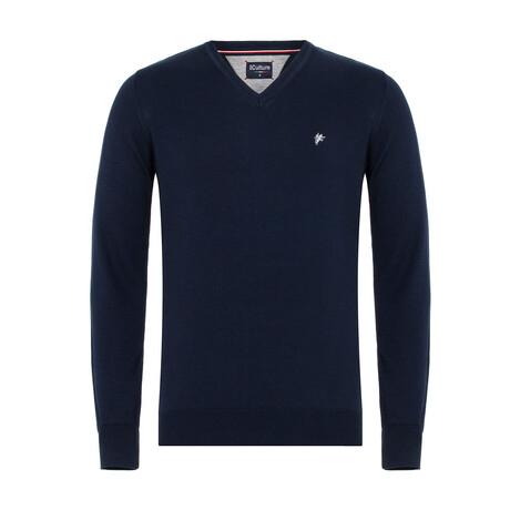 Benito V-Neck Pullover Sweater // Navy (S)