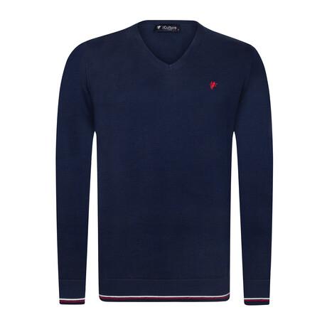 Ryan V-Neck Pullover Sweater // Navy (S)