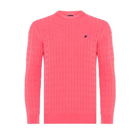 Cameron Round Neck Woven Pullover // Coral (S)