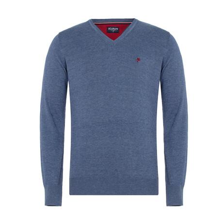 Griffen V-Neck Pullover Sweater // Denim Melange (S)