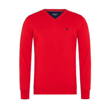 Callan V-Neck Pullover Sweater // Red (S)