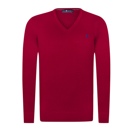 Nathan V-Neck Pullover Sweater // Bordeaux (S)