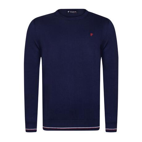Tanner Round Neck Pullover Sweater // Navy (S)