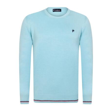 Myles Round Neck Pullover Sweater // Aqua (S)