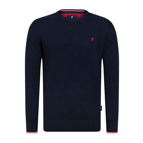 Slater Round Neck Pullover Sweater // Navy (S)