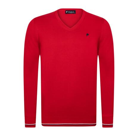 Jackson V-Neck Pullover Sweater // Red (S)