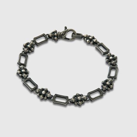 "Floral Cross Bracelet  // Silver (6.7""L)"
