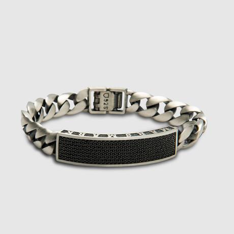 "Black Pave M.S Bracelet // Silver (6.7""L)"