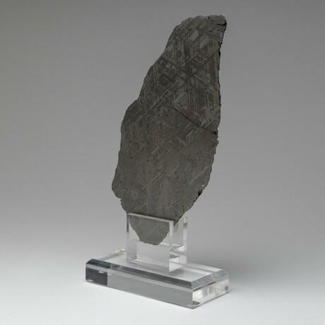 Large Genuine Natural Muonionalusta Meteorite Slice + Acrylic Stand // 584.7 g