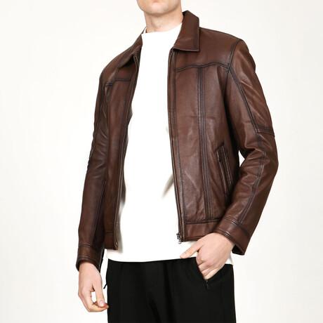 Zig Leather Jacket V1 // Camel (XS)