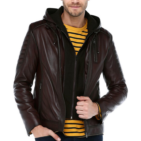 Hooded Zig Leather Jacket // Claret Red (XS)