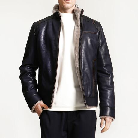 Jumbo Leather Jacket // Navy Blue (XS)