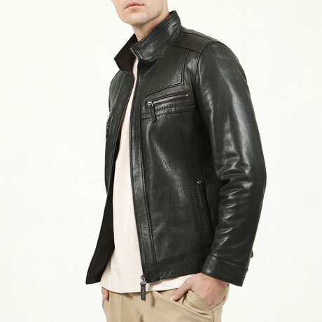 Jumbo Leather Jacket V1 // Green (XS)