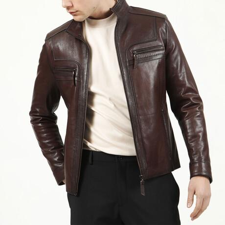 Jumbo Leather Jacket // Hazelnut (XS)