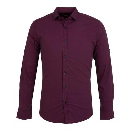 Grayson Long Sleeve Button Up Shirt // Dark Blue + Claret Red (S)
