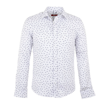 Cole Long Sleeve Button Up Shirt // White + Dark Blue (S)