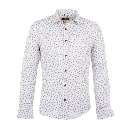 Andre Long Sleeve Button Up Shirt // White + Camel (S)