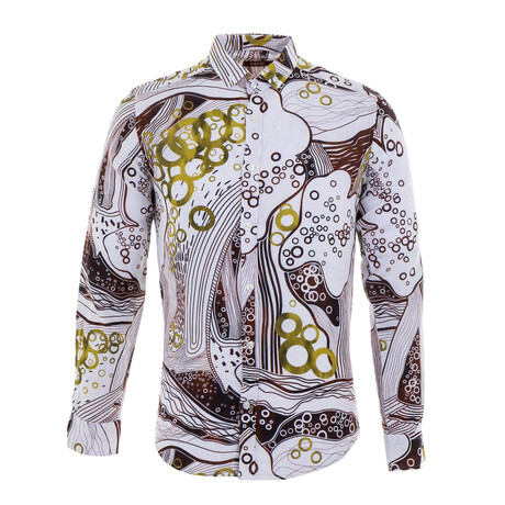 Clay Long Sleeve Button Up Shirt // Ecru + Brown (S)