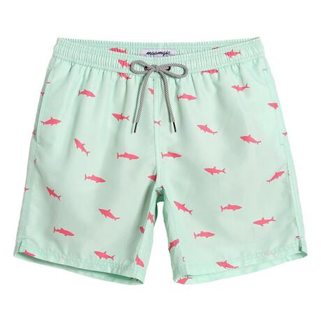 """Kevin 7"""" Swim Trunks // Shark Printed // Mint Green (XS)"""