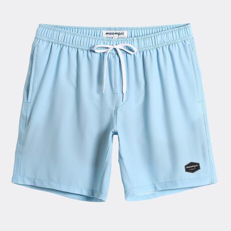 """Chad 7"""" Swim Trunks // 4 Way Stretch // Blue (XS)"""