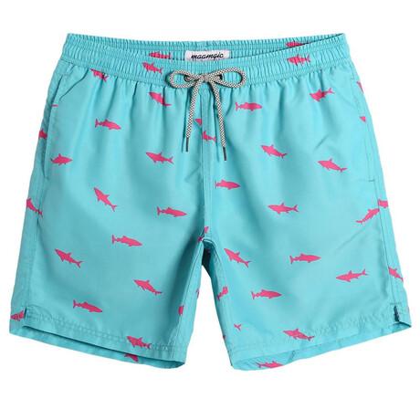 "Kevin 7"" Swim Trunks // Shark Print // Blue (XS)"
